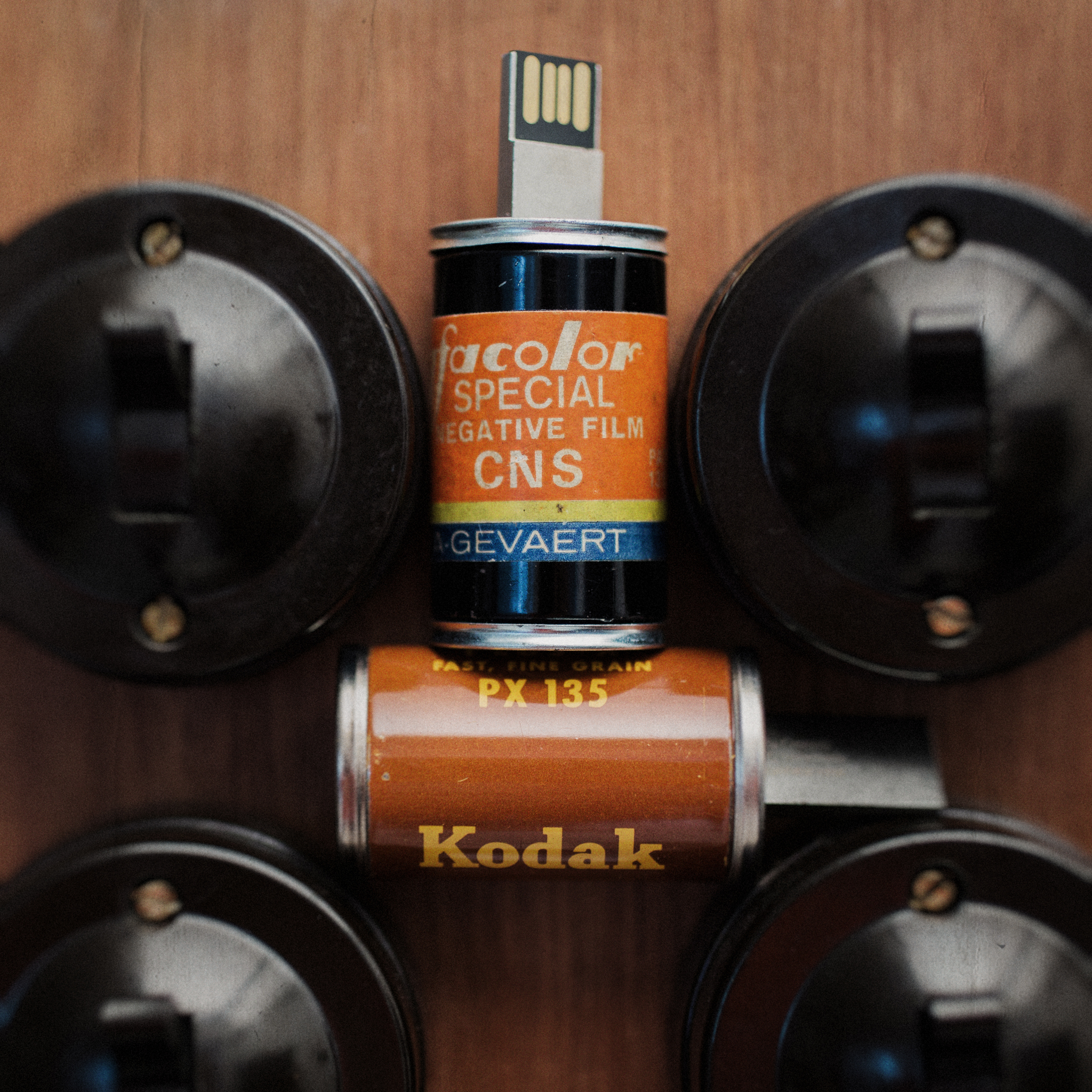 Vintage Film Canister USB Drives made from genuine vintage 35mm film canisters